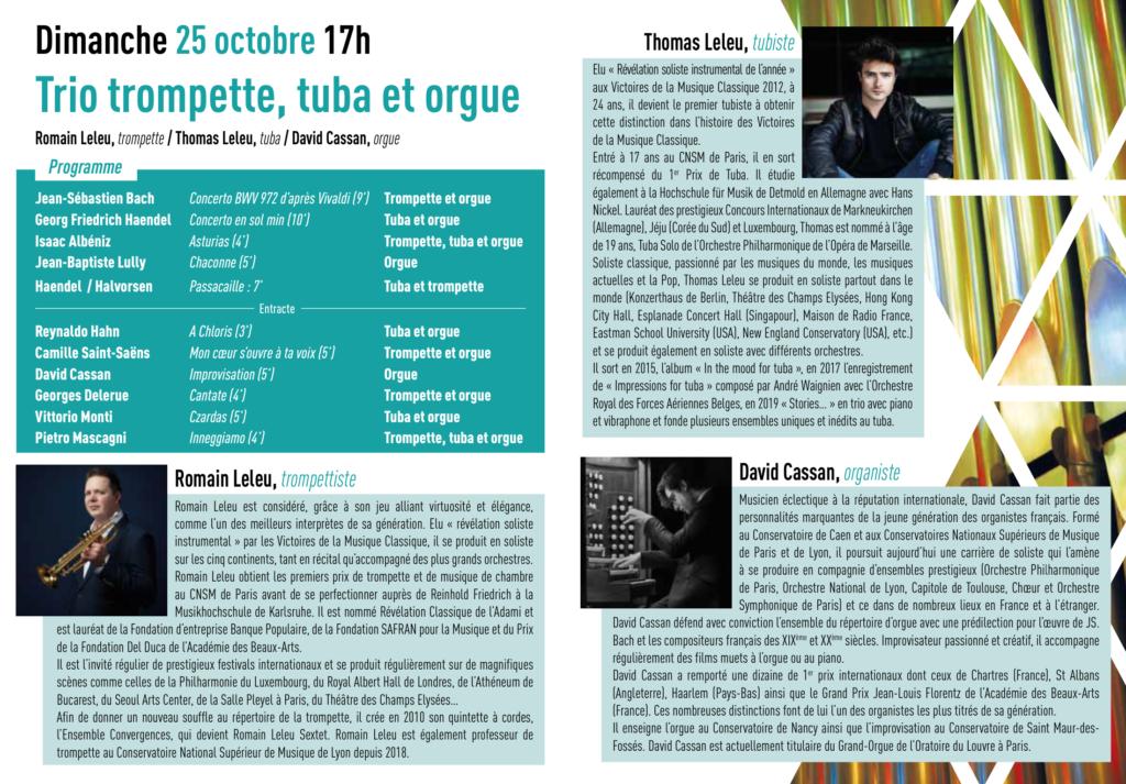 Programme Trompette, tuba et orgue