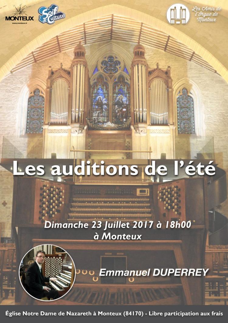 Les Auditions de l'Été des Amis de L'Orgue de Monteux Emmanuel Duperrey